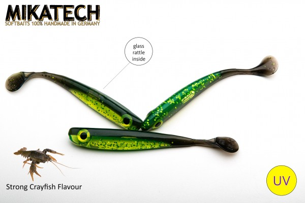 MIKATECH Real Shad 12,5 cm Green Pumpkin Chartreuse UV