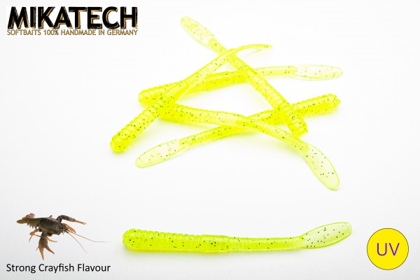 MIKATECH Real Worm 10 cm Ghost Chartreuse UV