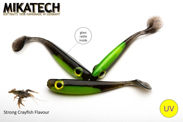 MIKATECH Real Shad 10 cm Green Pumpkin Chartreuse UV